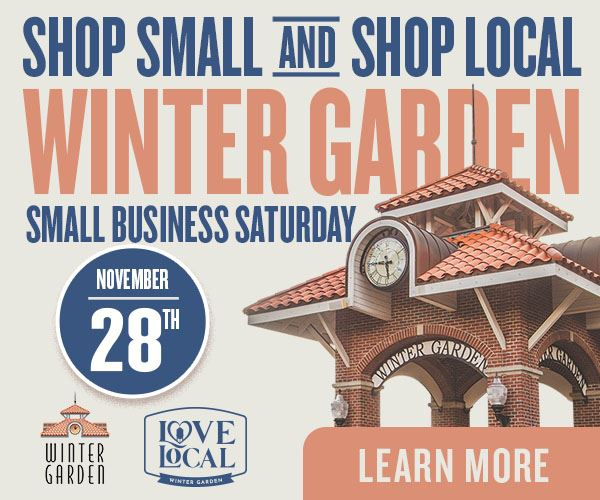 Graphic showing the Clock Tower saying Shop Small Saturday