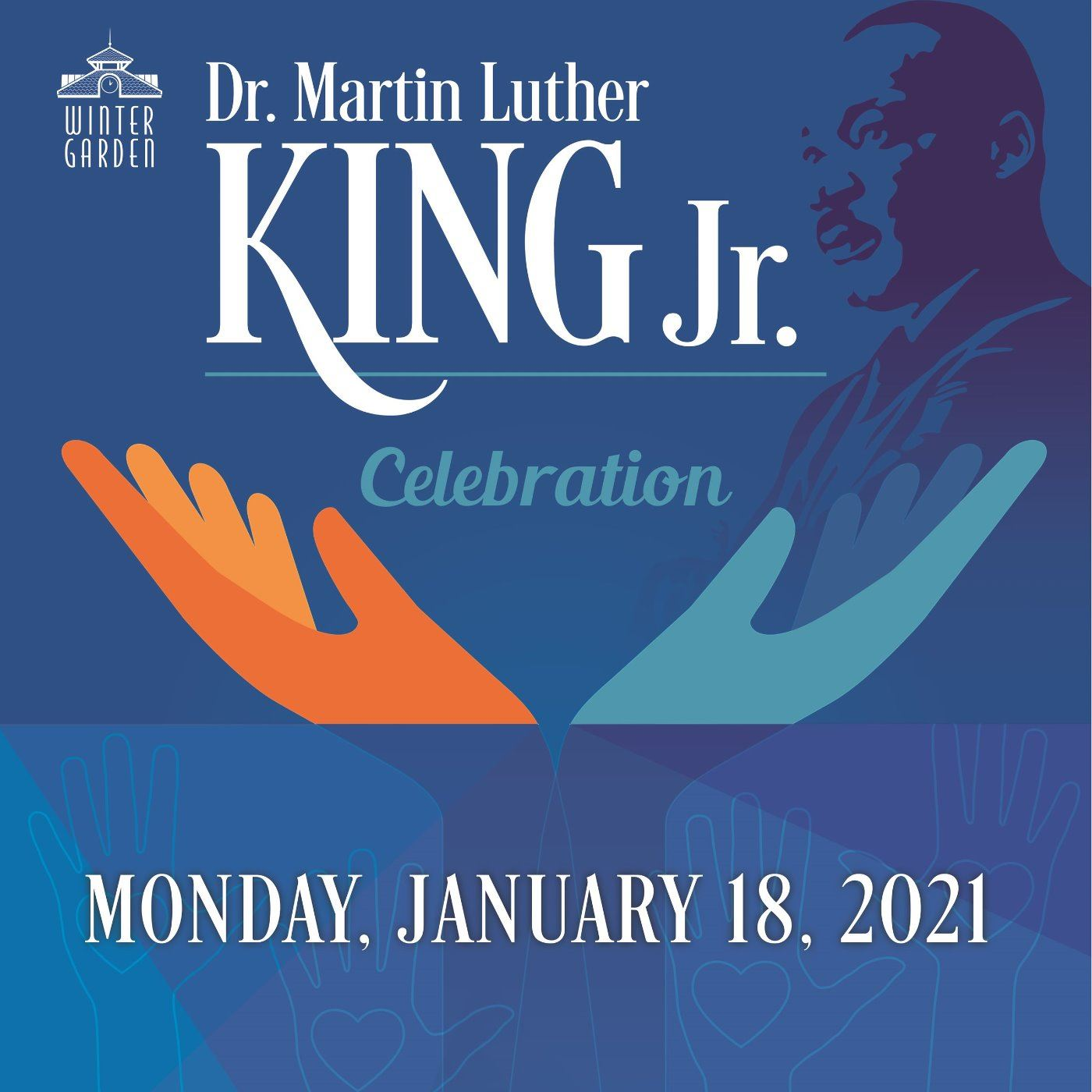 Blue and Orange Graphic for MLK Celebration with two hands outreached